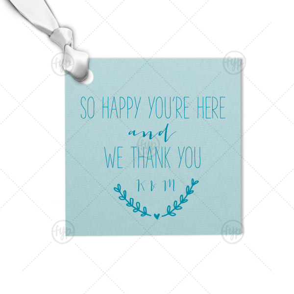 Happy You're Here Tag   Custom Poptone Kiwi Square Gift Tag with Satin Teal / Peacock Foil has a Heart Branch graphic and is good for use in Welcome, Wedding themed parties and couldn't be more perfect. It's time to show off your impeccable taste.