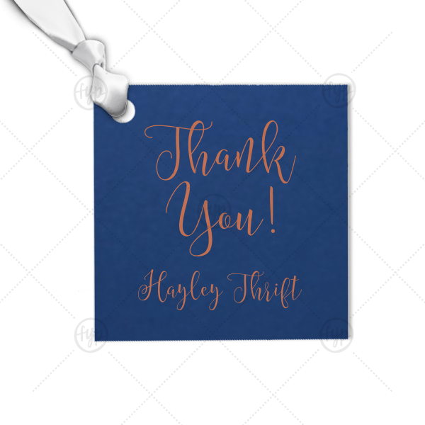 Modern Calligraphy Thank You Tag | Our personalized Natural Royal/Lt. Navy Square Gift Tag with Satin Copper Penny Foil can be customized to complement every last detail of your party.