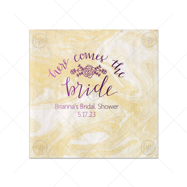 Here Comes the Bride Napkin | ForYourParty's personalized Marble Sand Cocktail Napkin with Shiny Amethyst Foil Color has a Here Comes the Bride 3 graphic and is good for use in Words themed parties and can't be beat. Showcase your style in every detail of your party's theme!