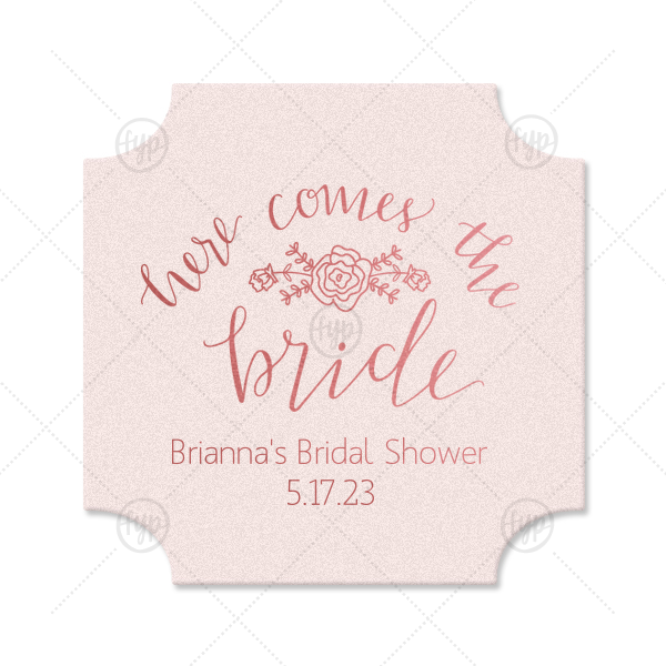 Here Comes the Bride Coaster | Our personalized Blush with Kraft back Deco Coaster with Shiny Turquoise Foil Color has a Here Comes the Bride 3 graphic and is good for use in Words themed parties and will make your guests swoon. Personalize your party's theme today.