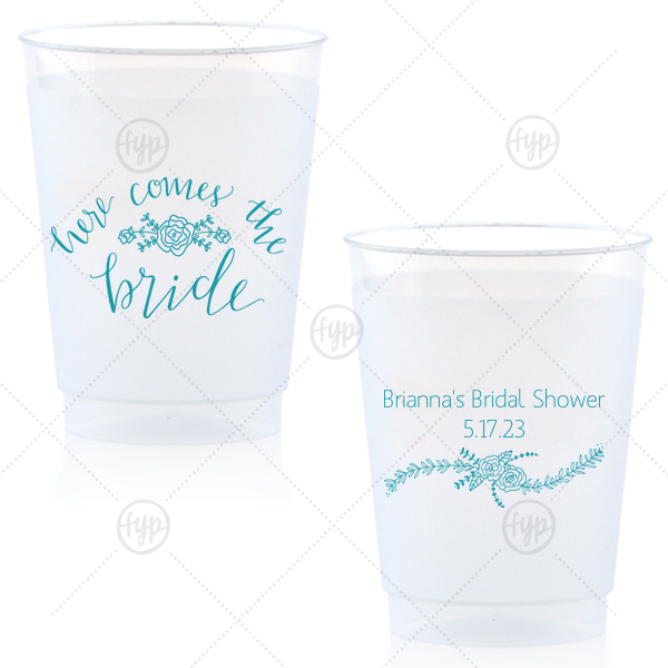 Here Comes the Bride Cup | Our beautiful custom Matte Teal/Peacock Ink 10 oz Frost Flex Cup with Matte Teal/Peacock Ink Screen Print has a Here Comes the Bride 3 graphic and a Rose Flourish graphic and is good for use in Floral themed parties and couldn't be more perfect. It's time to show off your impeccable taste.