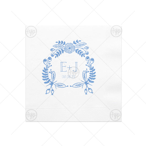 Hand Drawn Floral Crown Napkin | The ever-popular White Cocktail Napkin with Satin French Blue Foil Color has a Rustic Floral Frame graphic and is good for use in Frames themed parties and will add that special attention to detail that cannot be overlooked.