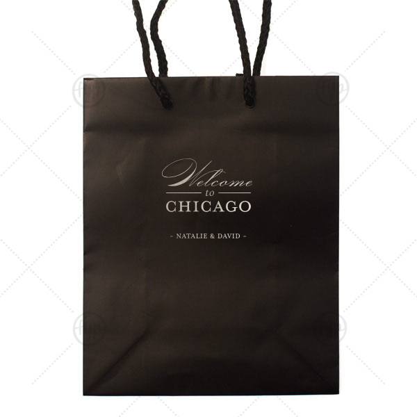 Welcome to Chicago Bag | Custom Black Euro Bag with Shiny Sterling Silver Foil couldn't be more perfect. It's time to show off your impeccable taste.