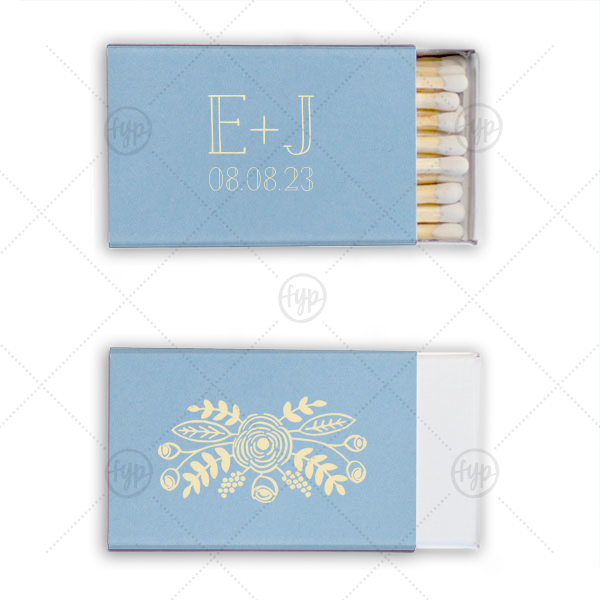 Hand Drawn Floral Crown Match | Our custom Natural Chambray Classic Matchbox with Matte Ivory Foil Color has a Rustic Floral Accent graphic and is good for use in Accents themed parties and will impress guests like no other. Make this party unforgettable.