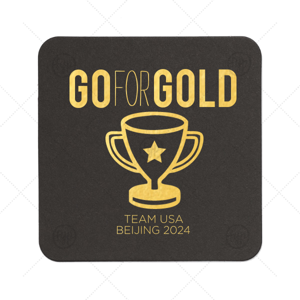 Go For Gold Olympic Coaster | Custom Eggshell Square Coaster with Shiny 18 Kt Gold Foil has a Trophy graphic and is good for use in Olympic Sports themed parties and will impress guests like no other. Make this party unforgettable.