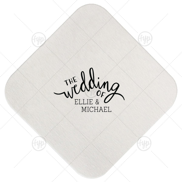 ForYourParty's personalized White Square Coaster with Satin French Blue Foil Color has a The Wedding Of graphic and is good for use in Words, Wedding themed parties and will add that special attention to detail that cannot be overlooked.