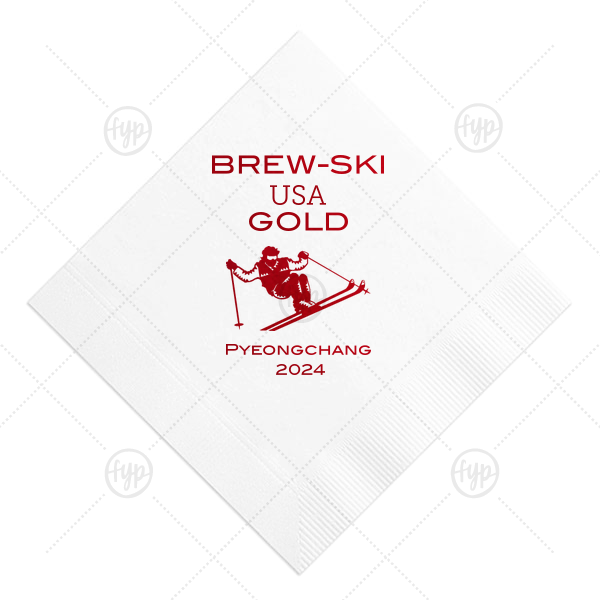 ForYourParty's chic White Cocktail Napkin with Shiny Convertible Red Foil has a Mogul Skiing graphic and is good for use in Olympic Sports themed parties and will add that special attention to detail that cannot be overlooked.