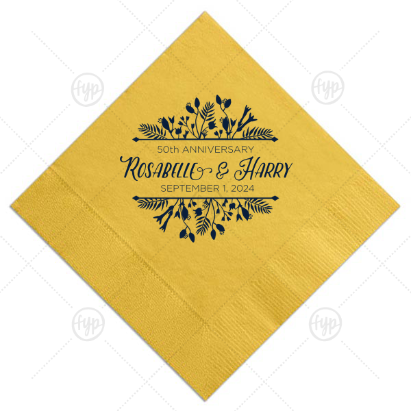 Floral Frame Anniversary Napkin