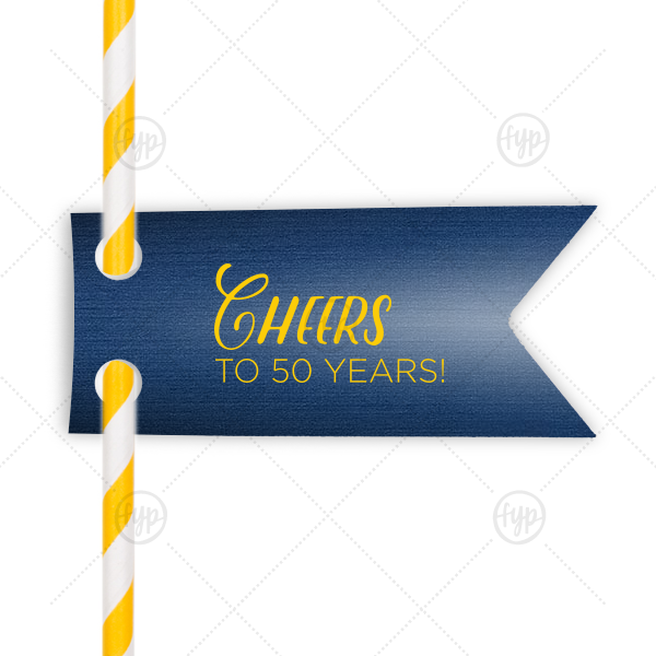 Cheers Anniversary Straw Tag | Our beautiful custom Linen Navy Blue Rectangle Straw Tag with Matte Sunflower Foil Color can't be beat. Showcase your style in every detail of your party's theme!