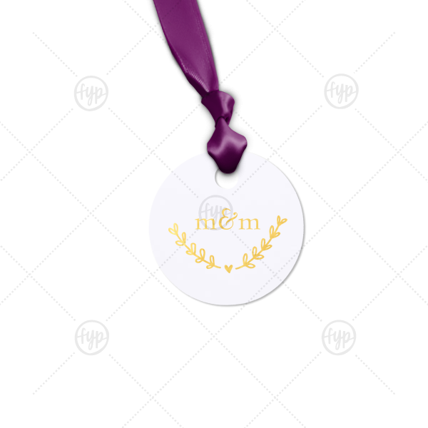 Heart Branch Tag | ForYourParty's elegant Natural Frost White Round Gift Tag with Shiny 18 Kt Gold Foil has a Heart Branch graphic and is good for use in Love, Wedding themed parties and can be personalized to match your party's exact theme and tempo.