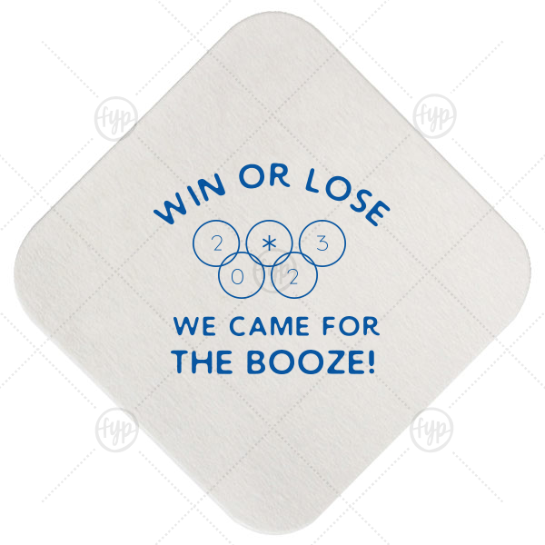 Olympic Booze Coaster | ForYourParty's elegant Eggshell Square Coaster with Matte Royal Blue Foil can be customized to complement every last detail of your party.