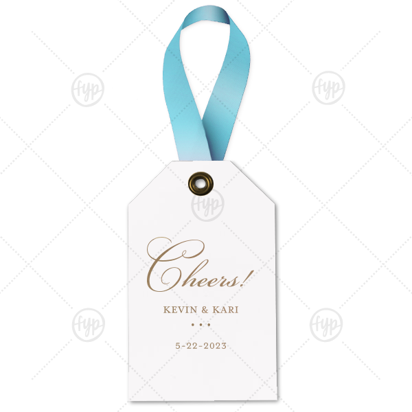 Cheers Wine Tag | ForYourParty's personalized Natural Frost White Wine Gift Tag with Shiny Champagne Foil can be personalized to match your party's exact theme and tempo.