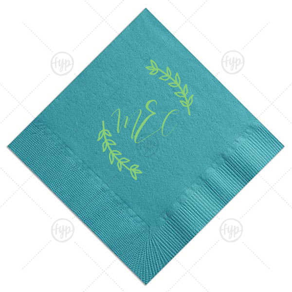 ForYourParty's elegant Teal Cocktail Napkin with Shiny Green Tea Foil has a Leaf Monogram graphic and is good for use in Frames, Floral themed parties and will impress guests like no other. Make this party unforgettable.