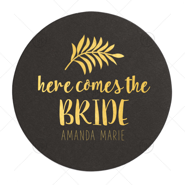 Tropical Bridal Coaster | Our custom White Round Coaster with Shiny Leaf Foil Color has a Leaves graphic and is good for use in Floral themed parties and will give your party the personalized touch every host desires.