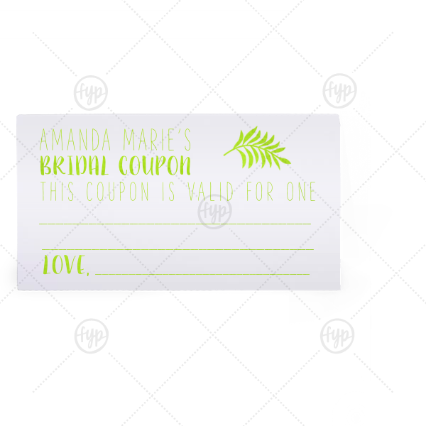 Bridal Coupon | Our personalized Natural Frost White Classic Place Card with Shiny Kiwi / Lime Foil has a Leaves graphic and is good for use in Floral themed parties and can be customized to complement every last detail of your party.