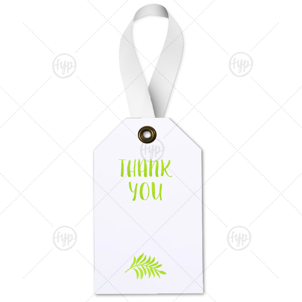 Thank You Leaf Tag | The ever-popular Natural Frost White Wine Gift Tag with Shiny Kiwi / Lime Foil Color has a Leaves graphic and is good for use in Floral themed parties and can be customized to complement every last detail of your party.