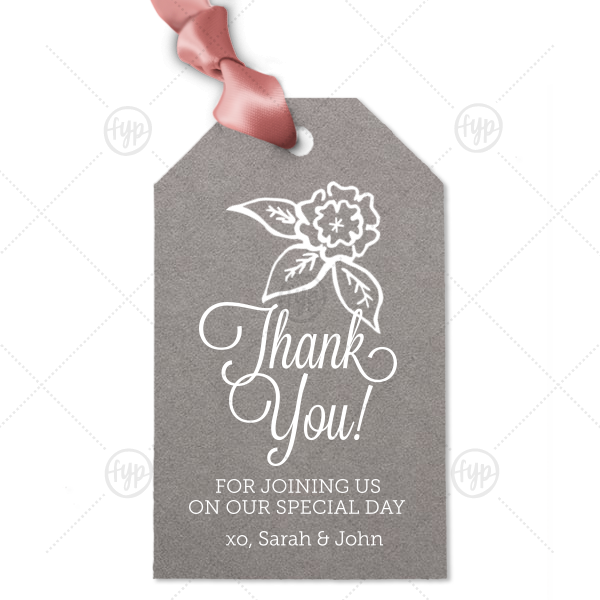 Thank You Flowers Tag | Our custom Natural Slate Luggage Gift Tag with Matte White Foil Color has a Marigold Accent graphic and is good for use in Accents themed parties and can be personalized to match your party's exact theme and tempo.