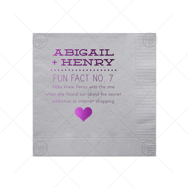 ForYourParty's personalized Dove Gray Cocktail Napkin with Shiny Amethyst Foil Color has a Heart Solid graphic and is good for use in Hearts themed parties and can't be beat. Showcase your style in every detail of your party's theme!