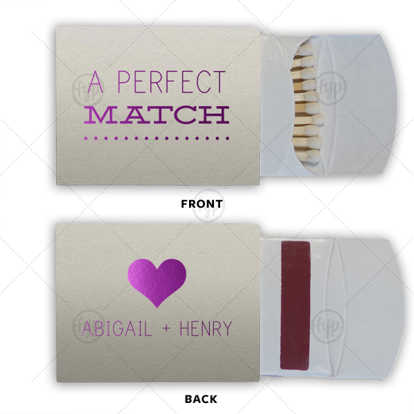 Perfect Match Heart Match | Our custom Natural Gray Pillow Matchbox with Shiny Amethyst Foil Color has a Heart Solid graphic and is good for use in Hearts themed parties and will give your party the personalized touch every host desires.