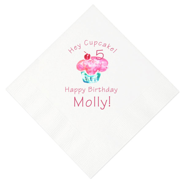 Cupcake Birthday Photo/Full Color Napkin