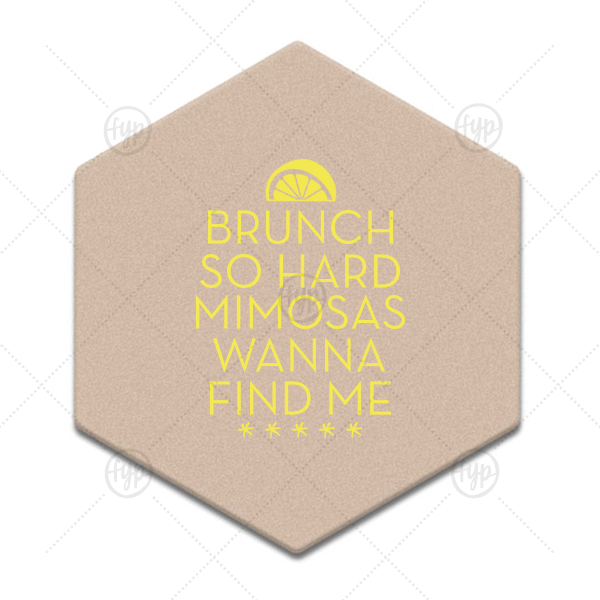Mimosa Brunch Coaster | ForYourParty's personalized Black with Silver back Hexagon Coaster with Matte Mimosa Yellow Foil Color has a Lemon Wedge graphic and is good for use in Food, Drinks themed parties and will impress guests like no other. Make this party unforgettable.