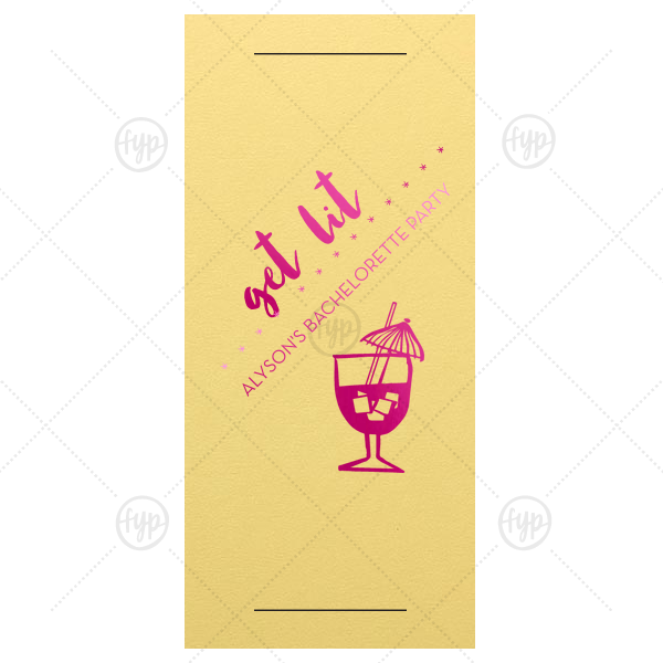 Get Lit Sparkler Sleeve | Our personalized Poptone Mimosa Large Sparkler Sleeve with Shiny Fuchsia Foil Color has a Tiki Drink 2 graphic and is good for use in Drinks, Beach/Nautical themed parties and couldn't be more perfect. It's time to show off your impeccable taste.