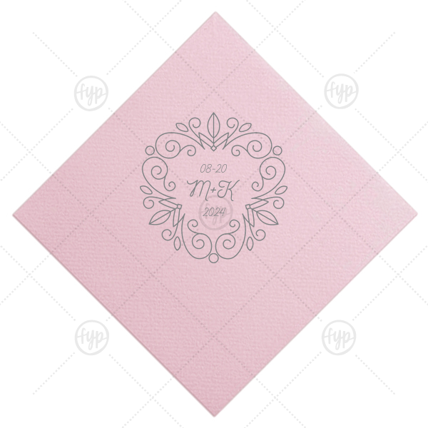 Floral Line Frame Napkin | Add the perfect touch to your rehearsal dinner or wedding bar with this elegant personalized cocktail napkin. Stamp your initials and wedding date within the floral line frame for a lovely, traditional detail.