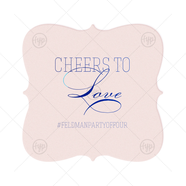Our personalized Blush with Kraft back Nouveau Coaster with Shiny Royal Blue Foil can be personalized to match your party's exact theme and tempo. Cheers to Love!