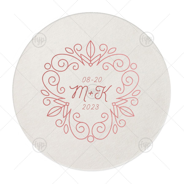 Floral Line Frame Coaster | Our beautiful custom Eggshell Round Coaster with Shiny Rose Quartz Foil Color has a Letter Frame Invitation graphic and is good for use in Lovely Press themed parties and will make your guests swoon. Personalize your party's theme today.