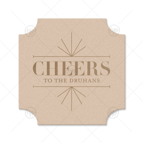 Line Frame Cheers Coaster | Our beautiful custom Black with Silver back Deco Coaster with Shiny Sterling Silver Foil Color has a Line Frame graphic and is good for use in Frames themed parties and will impress guests like no other. Make this party unforgettable.