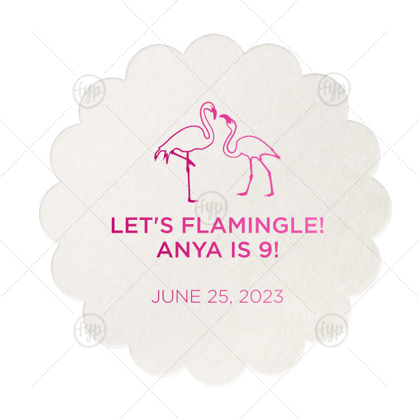 Let's Flamingle Coaster | Our custom Eggshell Scallop Coaster with Shiny Fuchsia Foil has a Flamingos graphic and is good for use in Animals, Beach/Nautical themed parties and will give your party the personalized touch every host desires.