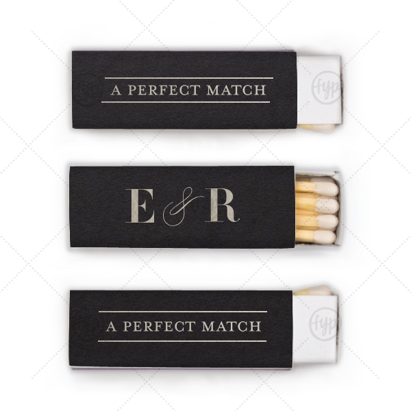 Line Frame Match | Our custom Natural Black Lipstick Matchbox with Shiny Sterling Silver Foil Color will make your guests swoon. Personalize your party's theme today.