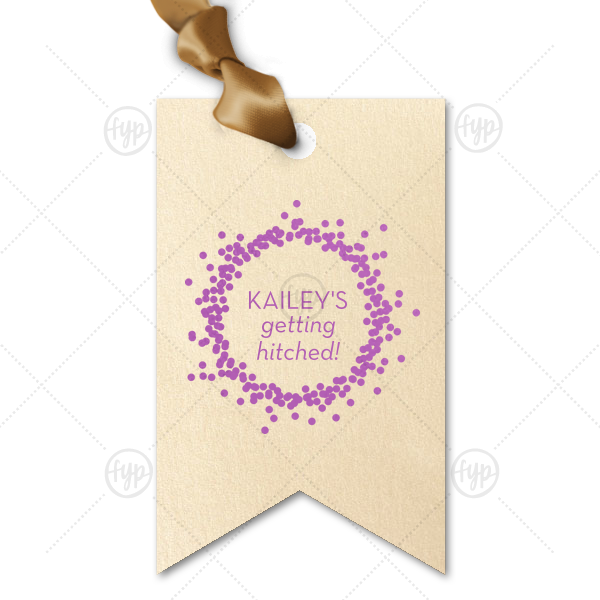 Getting Hitched Confetti Frame Tag | The ever-popular Stardream Ivory Double Point Gift Tag with Satin Plum Foil Color has a Confetti Frame graphic and is good for use in Frames themed parties and couldn't be more perfect. It's time to show off your impeccable taste.