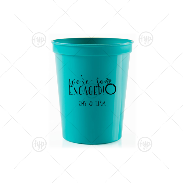 We're So Engaged Stadium Cup | Our beautiful custom Teal 16 oz Stadium Cup with Matte Black Ink Screen Print has a Diamond Ring graphic and is good for use in Fashion, Wedding, Bridal Shower themed parties and can be customized to complement every last detail of your party.