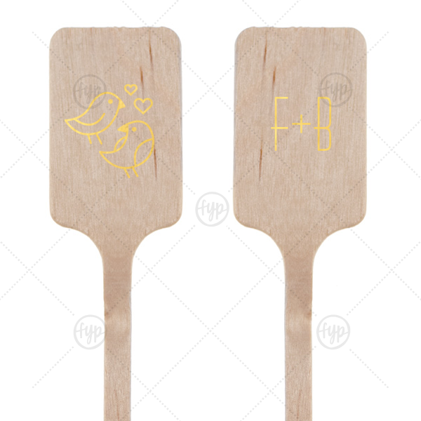 Love Birds Stir Stick | Our personalized Shiny 18 Kt Gold Rectangle Stir Stick with Shiny 18 Kt Gold Foil Color has a Love Birds 2 graphic and is good for use in Animals, Wedding themed parties and will give your party the personalized touch every host desires.