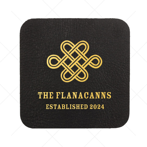 Love Knot Coaster   Personalized Black Leather Leather Square Coaster with Shiny 18 Kt Gold Foil has a Love Knot graphic and is good for use in Wedding, Symbols themed parties and can be customized to complement every last detail of your party.