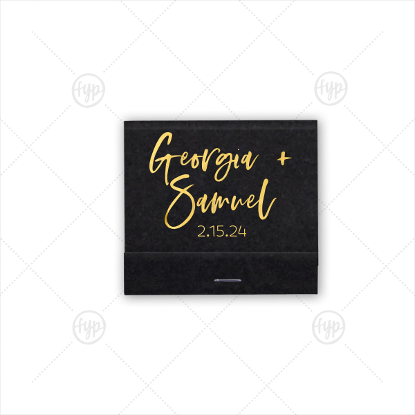 Our custom Shimmer Ivory 30 Strike Matchbook with Shiny 18 Kt Gold Foil will look fabulous with your unique touch. Your guests will agree!