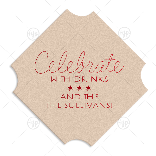 Celebrate Stars Coaster | ForYourParty's chic Silver with Black back Deco Coaster with Shiny Convertible Red Foil Color will make your guests swoon. Personalize your party's theme today.