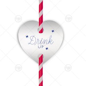 Drink Up Stars Straw Tag