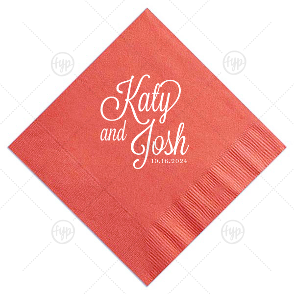 Formal Names Napkin | Our Beautiful Black Cocktail Napkin with Shiny Green Tea Imprint Foil Color is good for use in Bridal Shower, Wedding, Blue, Green, Silver and Gold themed parties and will give your party the personalized touch every host desires.