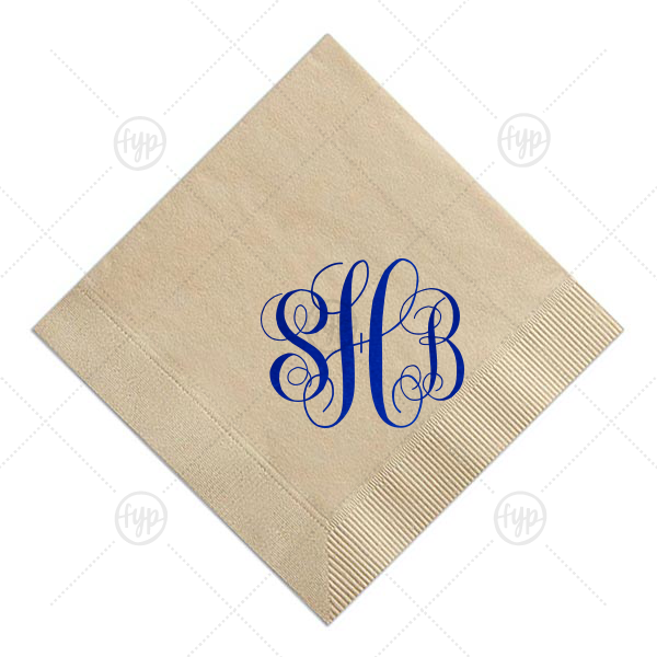 Romantic Monogram Napkin | For Your Party's Sky Blue Cocktail Napkin with Shiny Royal Blue Foil is classic and timeless. Personalize as a Hostess Gift, or for a Bridal Shower, or Wedding. Your party deserves this type of perfection.
