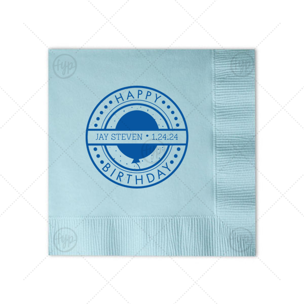 Custom Sky Blue Cocktail Napkin with Matte Royal Blue Foil Color has a Birthday Badge graphic and is good for use in Frames themed parties and can't be beat. Showcase your style in every detail of your party's theme!