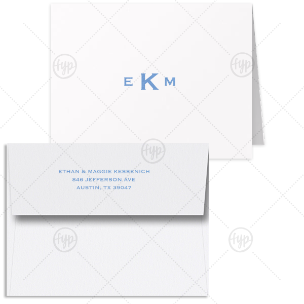 Bold Monogram Note Card | This Custom Natural Frost White Classic Note Card with a Satin French Blue Foil Monogram will impress guests like no other. Make this party unforgettable.