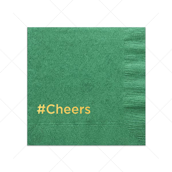 Hashtag Cheers Napkin | Our custom Leaf Cocktail Napkin with Shiny 18 Kt Gold Foil couldn't be more perfect. It's time to show off your impeccable taste--cheers!
