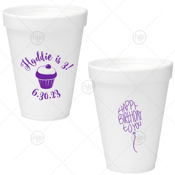Birthday Cupcake Foam Cup | Our custom Matte Amethyst Ink 12 oz Foam Cup with Matte Amethyst Ink Screen Print has a Kid Cupcake graphic and a Birthday Balloon graphic and is good for use in Words, Kid Birthday, Birthday themed parties and can't be beat. Showcase your style in every detail of your party's theme!