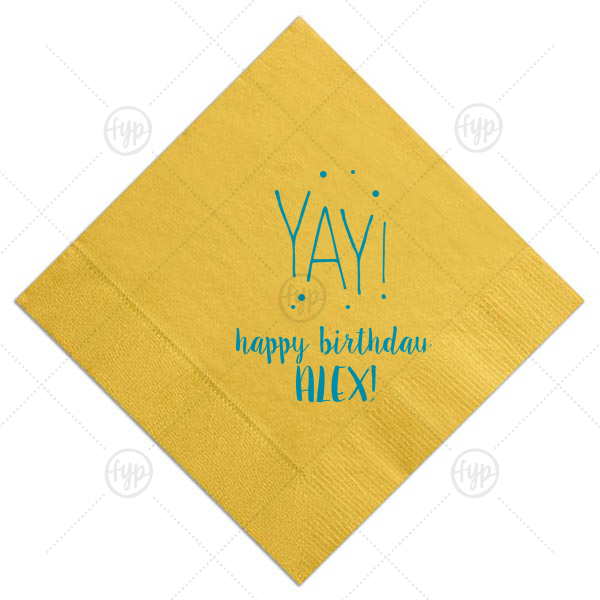 Yay Birthday Dots Napkin | ForYourParty's chic Sunflower Cocktail Napkin with Satin Teal / Peacock Foil Color has a Yay graphic and is good for use in Words themed parties and couldn't be more perfect. It's time to show off your impeccable taste.
