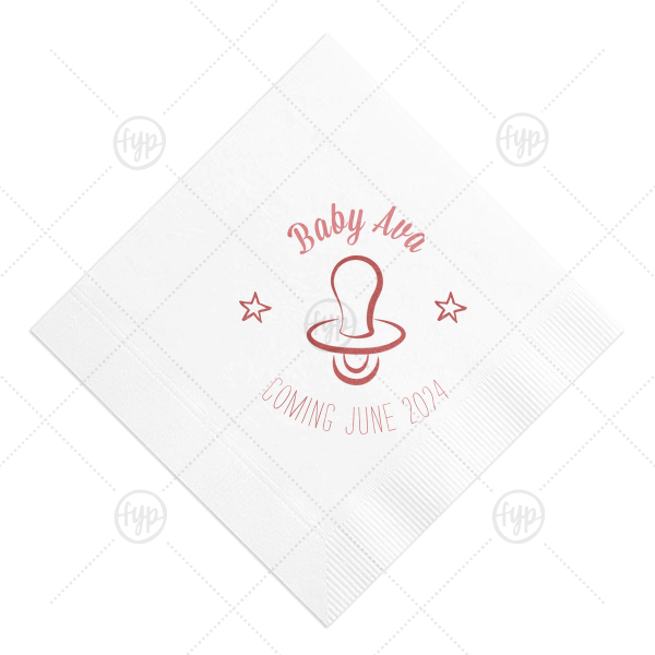 Baby Pacifier Napkin | Our personalized RECYCLED White Cocktail Napkin with Shiny Lavender Foil Color has a Pacifier graphic and is good for use in Baby Shower themed parties and will give your party the personalized touch every host desires.