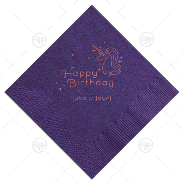 Unicorn Dots Birthday Napkin