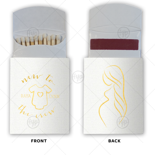 New to the Crew Match | Our custom Linen White Pillow Matchbox with Shiny 18 Kt Gold Foil Color has a Onesie graphic and a Mom To Be graphic and is good for use in Baby Shower themed parties and will add that special attention to detail that cannot be overlooked.
