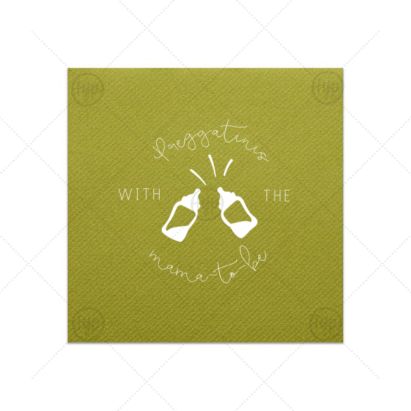 Preggatini Napkin | ForYourParty's elegant Moss Green Cocktail Napkin with Matte White Foil Color has a Baby Bottles graphic and is good for use in Baby Shower themed parties and can't be beat. Showcase your style in every detail of your party's theme!